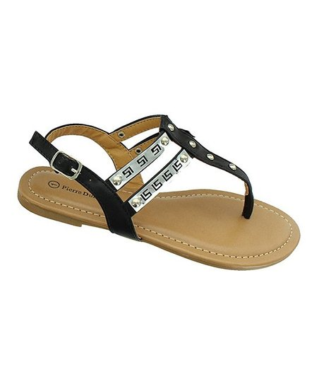 Black & Silver Greek Key Sandal