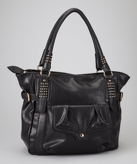 Black Studded Charmés Vegan Tote