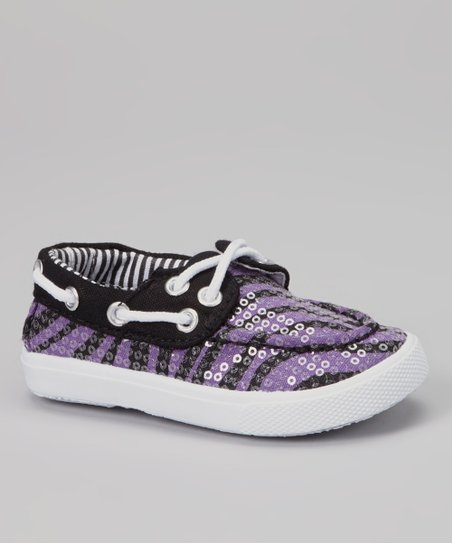 Purple Zebra & Black Sequin Boat Shoe