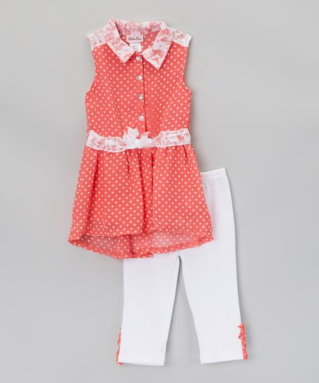 Coral & White Polka Dot Tunic & Leggings - Infant