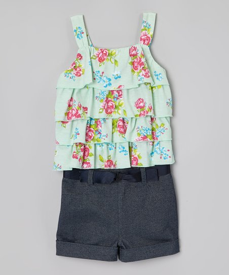 Mint & Denim Floral Tiered Ruffle Romper - Toddler & Girls