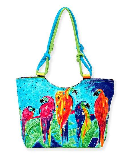 Aqua Parrot Parade Scoop Tote