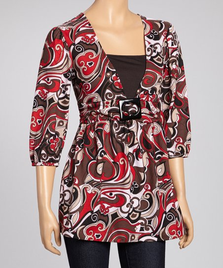 Red & Brown Swirl Buckle Top