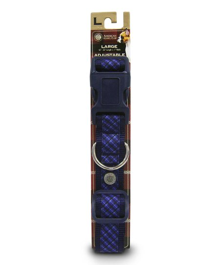 Blue Plaid Nylon Collar