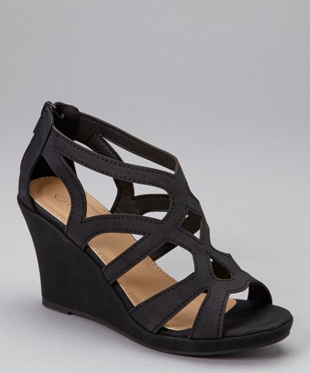 Black Hourglass Strap Wedge Sandal - Women