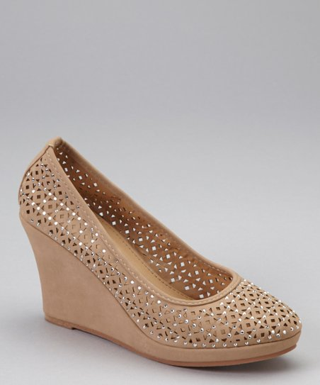 Taupe Rhinestone Wedge