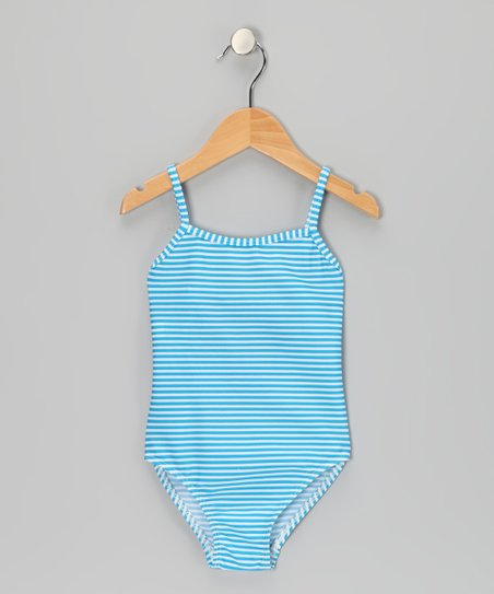 Blue Stripe One-Piece - Girls