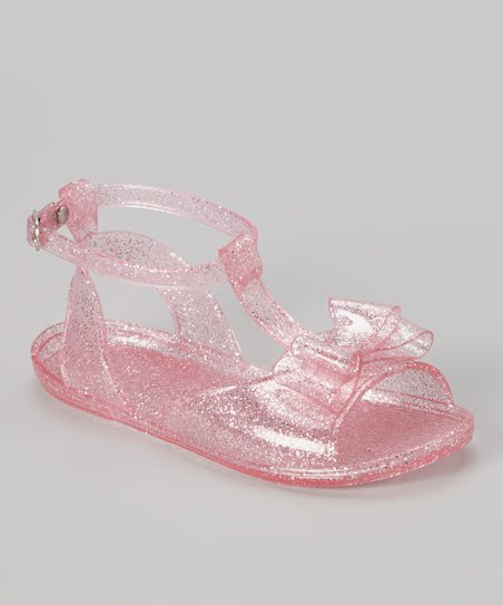 Light Pink Glitter Bow Jelly Sandal