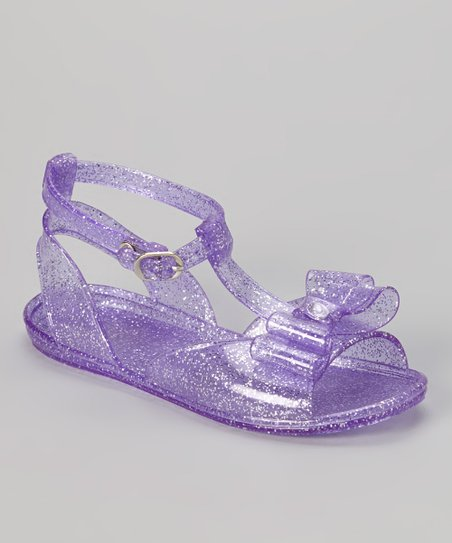 Purple Glitter Bow Jelly Sandal