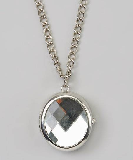 Silver Timepiece Locket Necklace