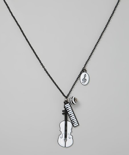 Black & White Violin Pendant Necklace
