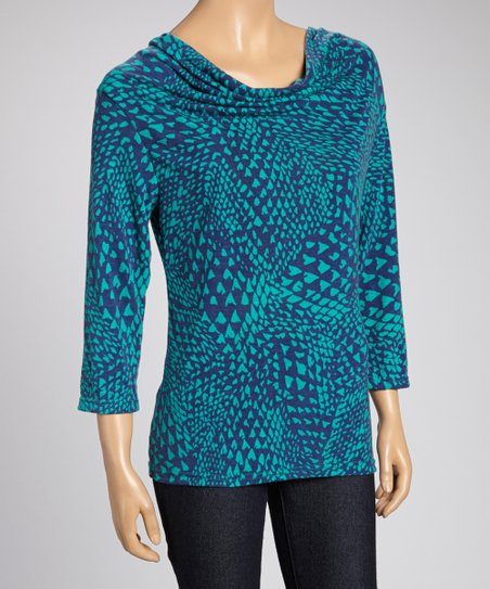 Blue Abstract Cowl Neck Top