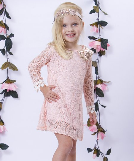Pink Lace Sequin Collar Shift Dress - Toddler & Girls