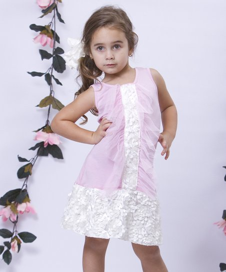 Pink & Crème Tuxedo Ruffle Drop-Waist Dress - Toddler & Girls