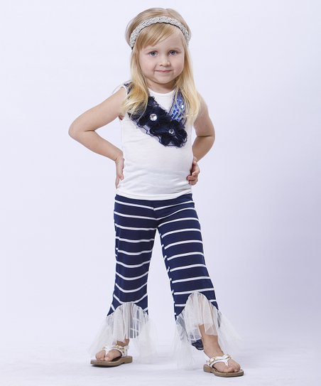 Navy & Cream Stripe Tank & Pants - Toddler & Girls