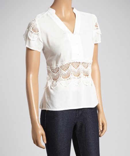 White Lace Appliqué V-Neck Top
