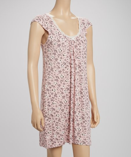 Pink Floral Nightgown - Women