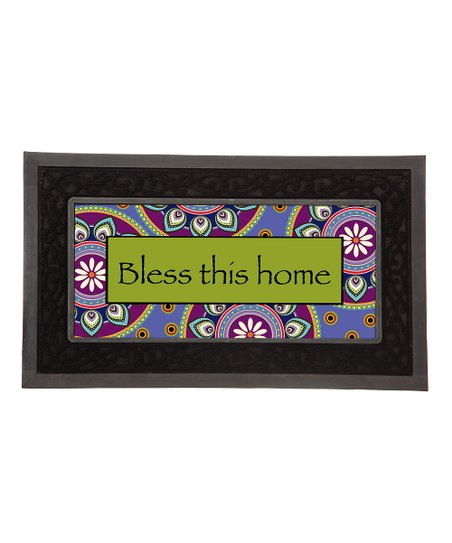 Green & Purple 'Bless This Home' Door Mat