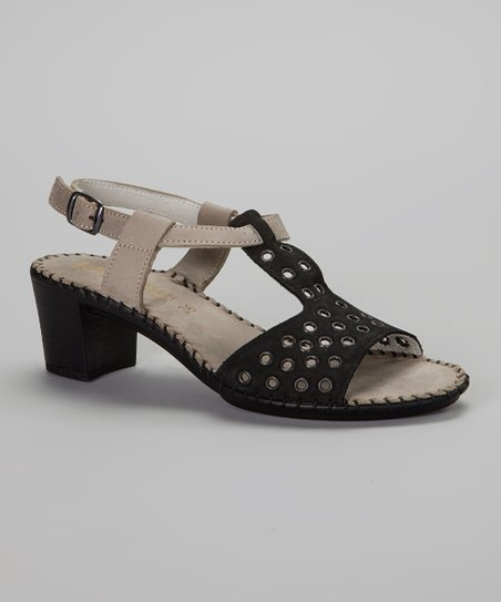 Black & Taupe Leather Grommet Inez Sandal - Women