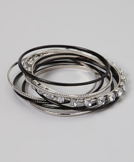 Silver & Black Bangle Set