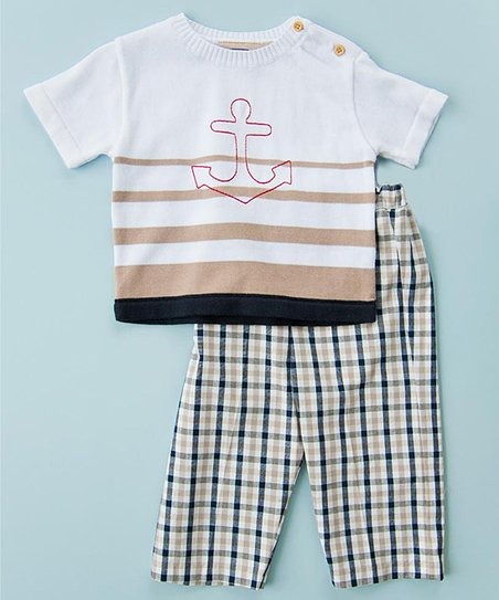 Taupe & Navy Anchor Tee & Pants - Infant, Toddler & Boys