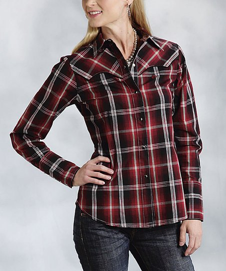 Red Plaid Button-Up - Women