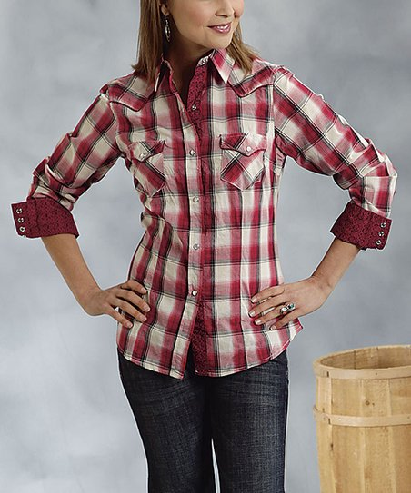 Red & White Plaid Button-Up - Women