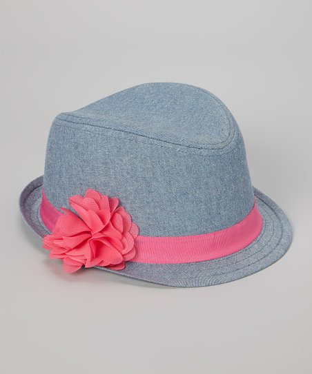 Blue & Pink Flower Fedora