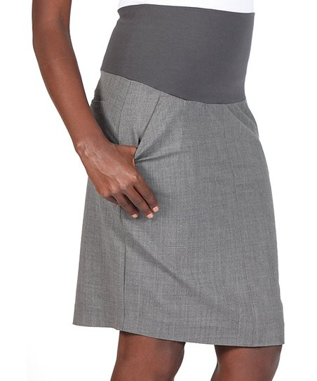 Charcoal Gray Mid-Belly Maternity Pencil Skirt - Women