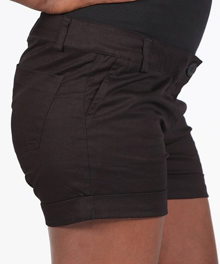 Black Mid-Belly Maternity Shorts - Women