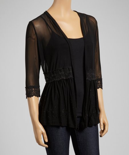 Black Lace Trim Open Cardigan