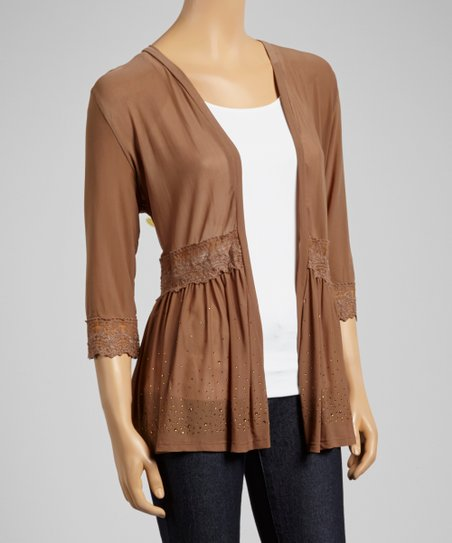 Brown Lace Trim Open Cardigan