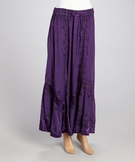 Purple Lace-Panel Embroidered Maxi Skirt