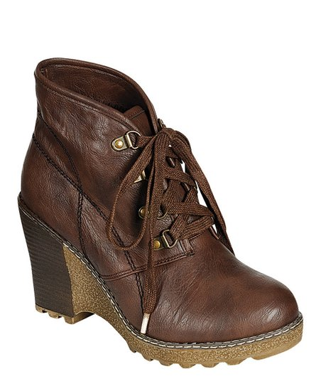 Brown Wedge Angel Bootie