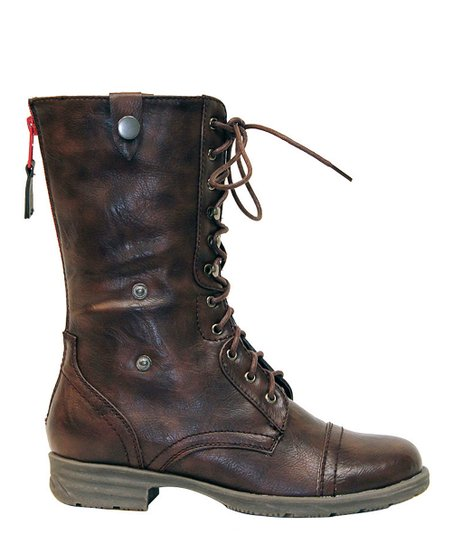 Brown Cuff Lace-Up Boot