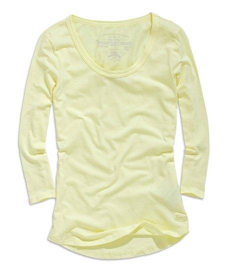 Light Yellow Scoop Neck Long-Sleeve Top