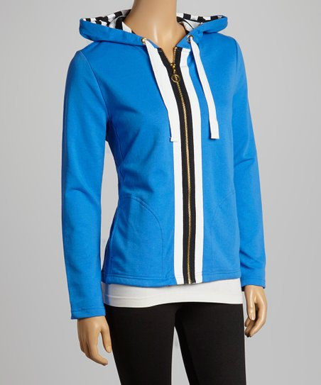 Palace Blue Stripe Zip-Up Hoodie