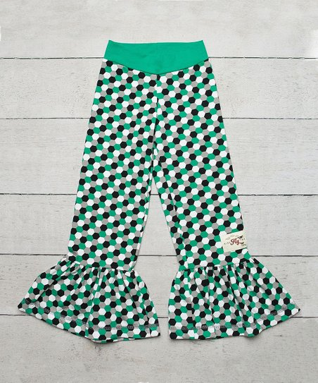 Green & White Polka Dot Ruffle Pants - Women