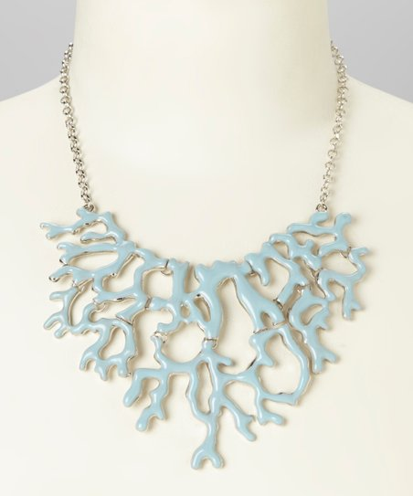 Light Blue Enamel Coral Bib Necklace