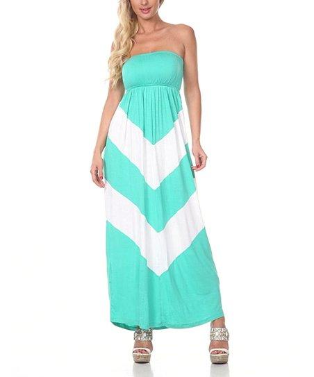 Jade & White Chevron Strapless Maxi Dress