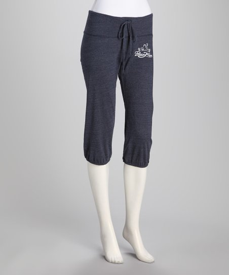 Blue Eco-Heather Cropped Pants - Women