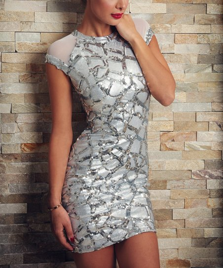 Silver Obsession Sequin Grid Dress