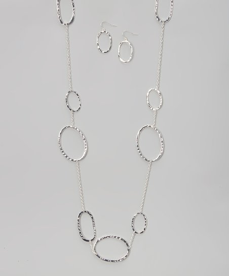 Silver Hammered Ring Necklace & Drop Earrings