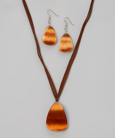 Brown Moonlit Madness Pendant Necklace & Drop Earrings