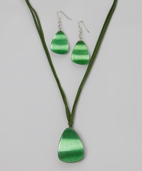 Green Moonlit Madness Pendant Necklace & Drop Earrings