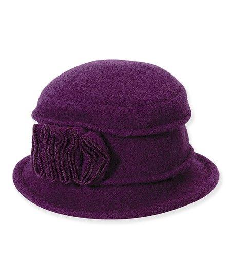 Purple Ruffle Appliqué Tilly Wool Cloche