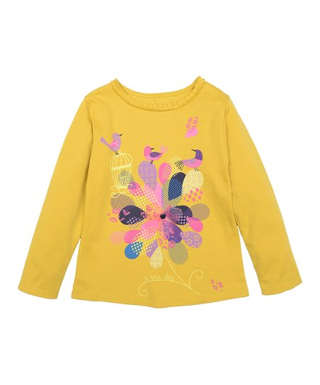 Marigold & Purple Bird Long-Sleeve Tee - Toddler & Girls