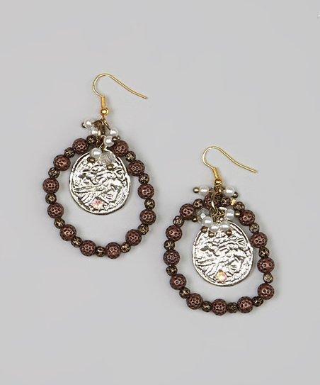 Copper Bead Disc Earrings