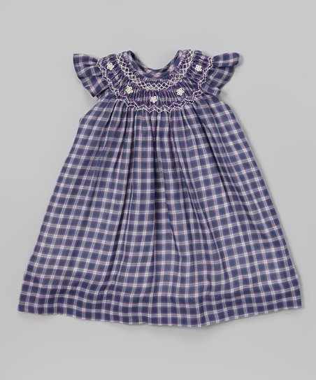 Blue Plaid Smocked Angel-Sleeve Dress - Infant & Toddler