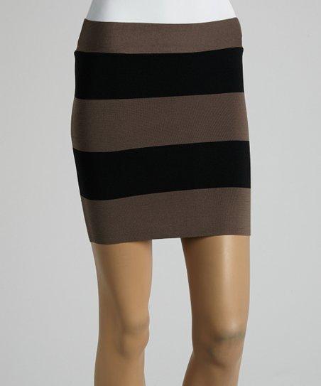 Tan & Black Stripe Casual Skirt